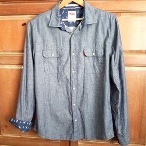 Levi's Men's Denim Blue Modern Fit Chambray Shirt
